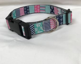 Adjustable dog collar, sailing boats, 43-65cm