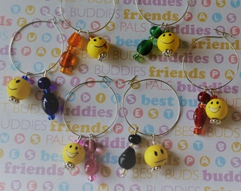Emoji Wine Charms // Colorful Beaded // Gifts // Housewarming // Party Favors // Emoticons // Handmade