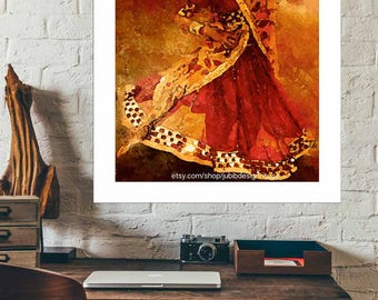 Folk dancer of India dancing to the beat of the drums - Wall print- vibrant colorful, prints, paintings, posters, for gifts, home decor.
