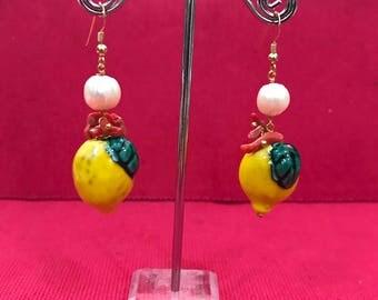 """Caltagirone's ceramic earrings """"lemon"""""""