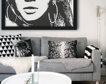 "wall art, 39"" acrylic painting, portrait painting,  black and white painting, modern, pop art, art deco, big size painting, Beyond sight"