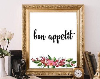 Kitchen Decor Bon Appetit Sign Dining Room Print Kitchen Wall Art Restaurant