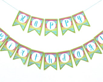 "Green and Pink Stripes Banner - ""Happy Birthday!"""