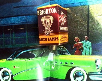 Vintage Car Headlight Brighton Auto Lamp 1950's - New Old Stock - Light Bulb - Man Cave Gift For Dad - Antique - Very Cool! Vintage Graphics