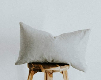 "Dark and Light Gray Linen Color Blocked Pillow Cover Lumbar ""Helene"""