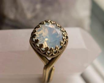 Sparkly White Swarovski Crystal Adjustable Ring
