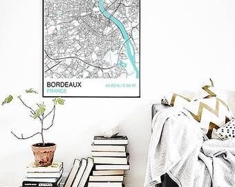 Bordeaux City Map Print, Scandinavian Map Print, Custom Map Print, Map Wall Art, City Map Poster, Map Print, Street Map, Map Wall Art