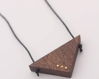 Contemporary Sustainable Walnut Wooden Geometric Necklace