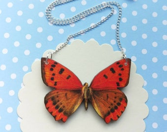 Butterfly necklace butterfly jewelry red butterfly bib necklace butterfly jewellery butterfly gift red butterfly necklace swallowtail