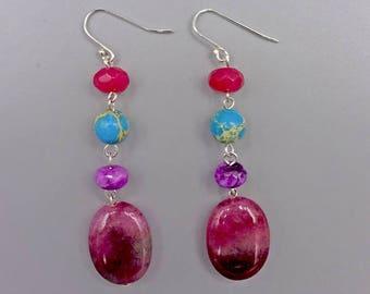 """2"""" Fucsia Quartz and Turquoise Magnesite Earrings"""