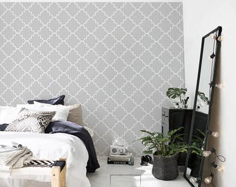 Gray Moroccan Wallpaper - Modern Pattern - Removable Wallpaper - Wall Covering - Wall Decal - Reusable - Wall Mural - Wall Decor - 48