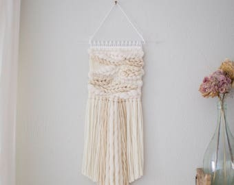 All white wall hanging \\ Weave \\ MTO \\ woven wall hanging \\ tapestry