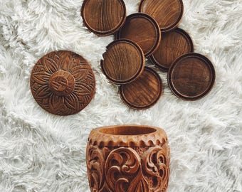 wood coaster set / wooden coasters / carved wood / vintage coasters