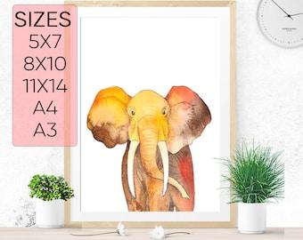 Elephant print, PRINTABLE art, Baby animals, Elephant nursery, Tropical Elephant, nursery art, Elephant wall art, animal wall art