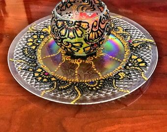 Exotic Henna Design Plate With A Candle