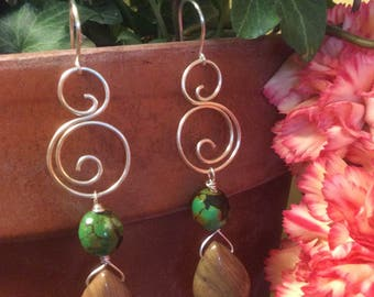 Silver Swirl Earrings with Green Chinese Turquoise and Jasper Teardrops