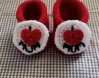 I Love Mum Booties   Baby Booties Crochet   Crochet Slipper  Handmade   Baby Shower Gift   Newborn Clothes
