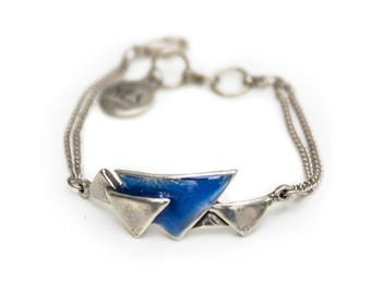 Dainty Pewter Bracelet with Blue Resin