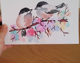 Watercolour Sparrows