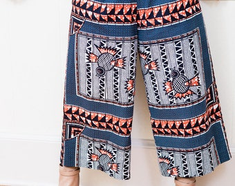 Blue, White and Orange Printed African Culotte Wide Leg Cropped Cotton Pants