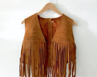 VTG 1970s Brown Suede Leather Fringe Vest Hippie Boho Festival OS S M