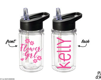 Flower Girl Gift - Flower Girl bottle, Petal Patrol bottle gift, Personalized Kids Water bottle, Will You Be My Flower Girl (BT007)