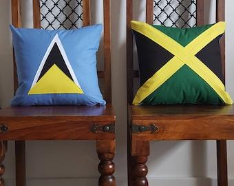 Handmade Applique St Lucia Flag Cushion