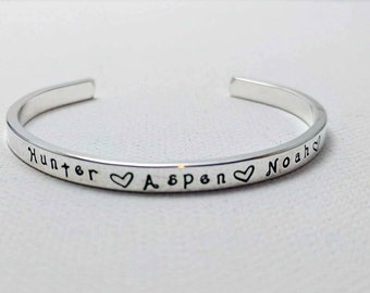 Sterling Silver Cuff, Personalized, Gift for Mom, Mother's Day Gift, Mommy Bracelet, Engraved Silver Bracelet, Stacking Bracelet