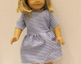 """18"""" Blue Striped Doll Dress"""