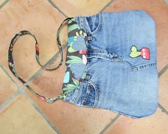 Recycled denim, cactus print, shoulder bag, purse
