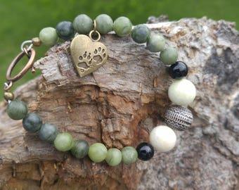 Jasper Beaded Bracelet. Paw Charm.  Original design.  Green, Black , Grey. animal rescue jewelry. cat dog lovers bracelet.