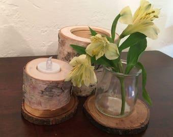 Birch Tea Light Candle Holder (set of 4)