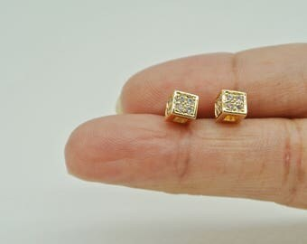 Medium Square Cube Diamond Earrings, Gold Plated Earrings, Crystal Earrings, Shiny CZ Crystal Stud Earrings