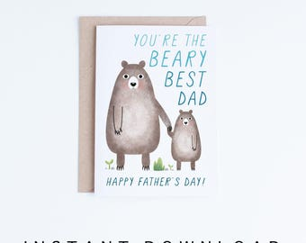 Fathers Day Cards Printable, Cute Bears Father's Day Digital Download, Best Dad, For Dad, Cards For Him, Gifts for Him, From the Baby, Kid