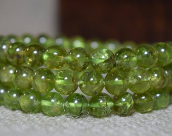 7.5 mm Genuine Peridot Gemstone Round 7.5-8mm Loose Beads 5/10/15/20/25/30 beads, Peridot Gemstone