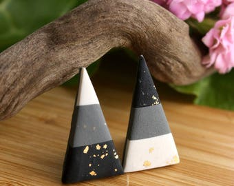 Polymer Clay Earrings~ Handmade Jewelry~ Polymer Clay Jewelry~ Gold Leaf Jewelry~ Stud Earrings~ Triangle Earrings