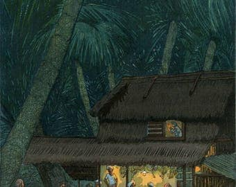 """Art Print Reproduction """"Night Scene, Malacca"""" by Elizabeth Keith, woodblock print reproduction, cultural art, Southeast Asia, palm trees"""