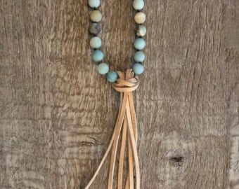 Knotted Druzy Agate Necklace with Leather Tassel