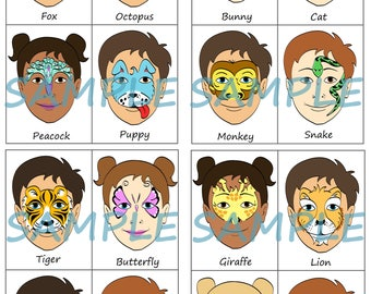 Face Paint Menu - Pack of 16 Animals Full Face, Half Face or Partial Face Designs - Digital Download