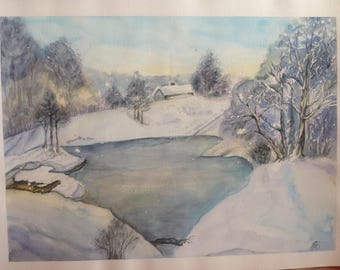 """Watercolor painting""Winter"", original, unique 30 * 40 cm"""