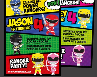 Power Rangers Invitation,  Power Ranger Birthday Party, Power Rangers Birthday, Power Ranger Party, Digital Invitation
