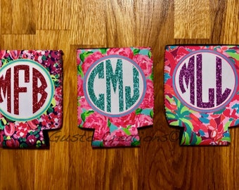 Floral, beverage holder, Glitter, Monogram