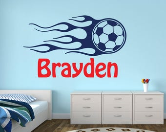Delicieux Soccer Wall Decal   Personalized Name Wall Decal   Boys Room Kids Soccer  Wall Art
