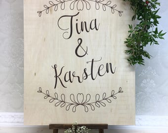 Wedding plate with decoration natural wood wedding personalized plate