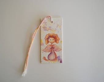 Watercolour Daisy Angel stepping on Little Worm - Handmade painting bookmark, Daisy, Flower, Angel. Perfect as a gift and for yourself too