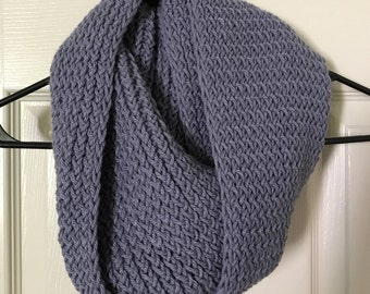 Gorgeous Blue Handmade Knit Infinity Scarf