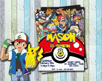 Pokemon Invitation,  Pokemon Birthday, Pokemon Party, Pokemon Card, Pokemon, Pokemon Invites, Personalised Pokemon, Ash, Pikachu ,