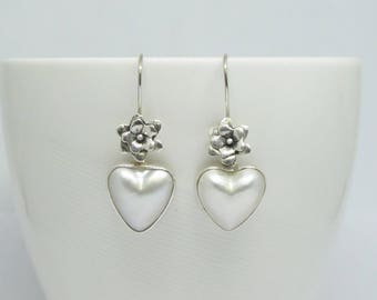 natural mabe pearl earrings, mabe pear set in silver earrings, 925 sterling silver earrings