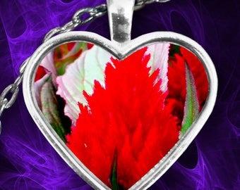 Fiery RED FLOWER Pendant Necklace