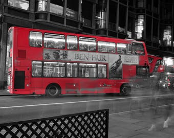 London- Piccadilly Circus, UK, Red bus, Night photography,Selective colour, Travel, Urban, Street Art, Fine Art Photography, pedestrians